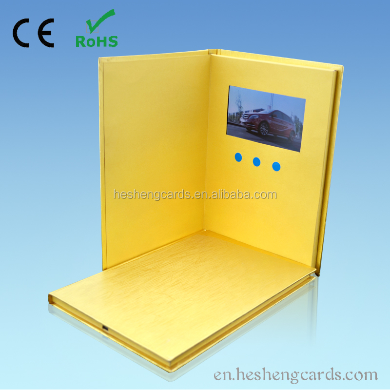Hardcover lcd video brochure with oem tft video digital photo frame for promotion