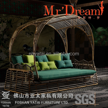 Exotic Retro Wicker Swing Bed Children Outdoor Garden Bed Mr Dream  Furniture Family Outdoor Sofa Bed