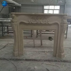Indoor Marble Carved Fireplace Insert Antique Carve Natural Stone Fujian White Marble Fireplace