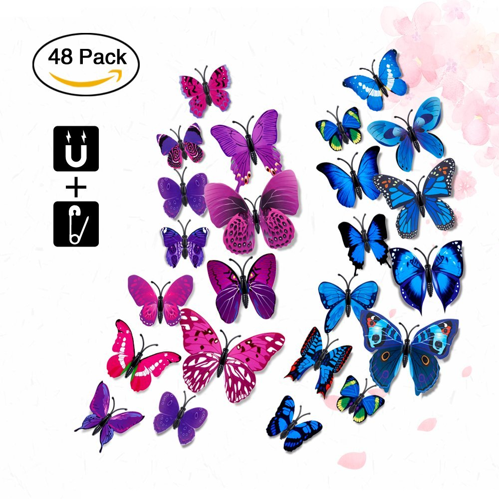 3D Lifelike Butterfly Wall Stickers, Rquite 48PCS 3D Artificial waterproof Butterfly Decor Refrigerator Magnet Curtain Pin Wall Stickers Decals for Nursery Bathroom Office Kids Bedroom-Purple+Blue