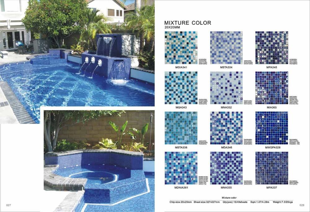 China Hot Melt Iridescent Glass Mosaic Blue Swimming Pool