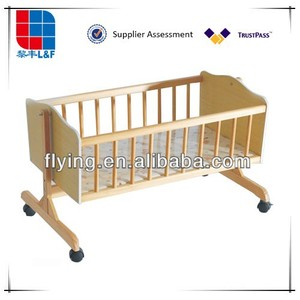 baby crib, L&F wood baby cradle , with mosquito net and wheel