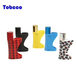 High quality Smoking Accessory Aluminum Tobacco Pipe with lighter holder