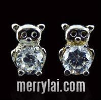 fashion Stainless steel shinning teddy bear earring stud with crystal