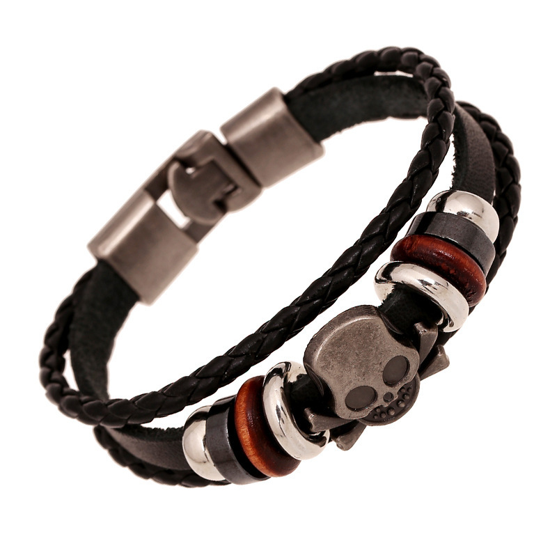 Newest black genuine Leather Bracelet cool skull handmade ...
