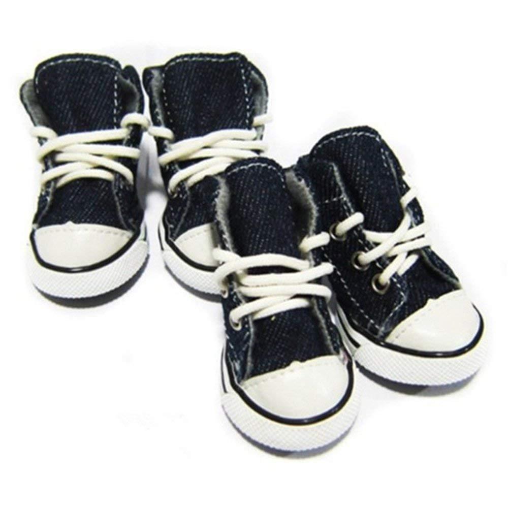 KINDOYO Pet Dog Denim Sport Shoes Boots Sneakers,4 pcs Breathable Pet Boots .(Blue)