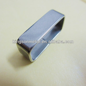 Brushed stainless steel watch strap rectangular keeper