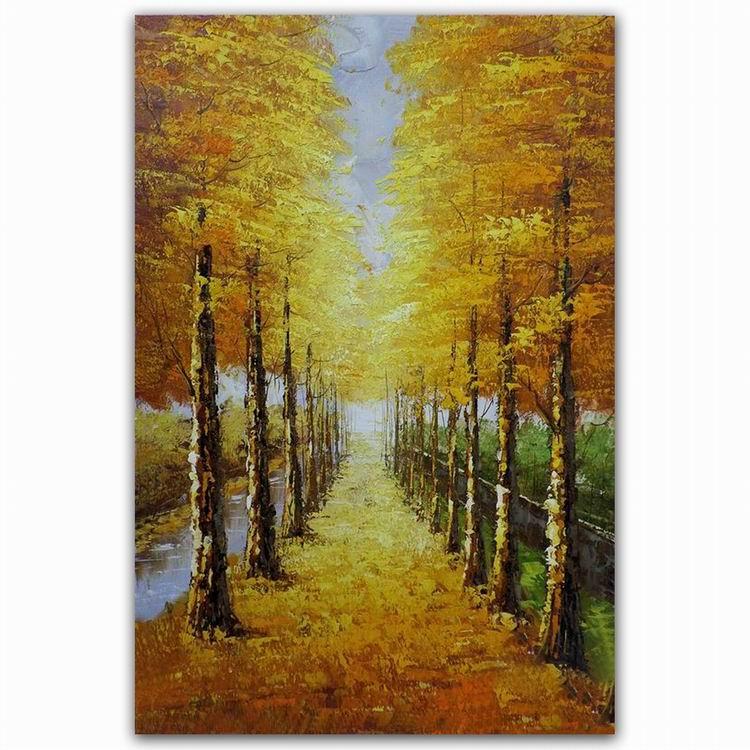 Most Beautiful Oil Paintings Rajasthani Autumn Tree Scenery Oil ...