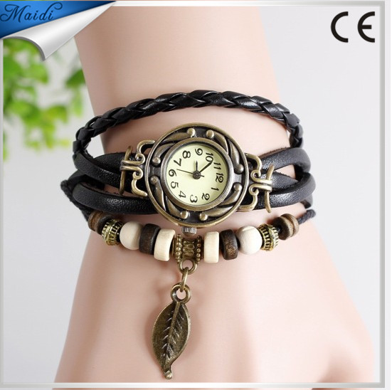 2015 New Vintage quartz watch women Watchs Wrap Tree leaf Pendant Synthetic Leather Bracelet Wrist Watch VW002