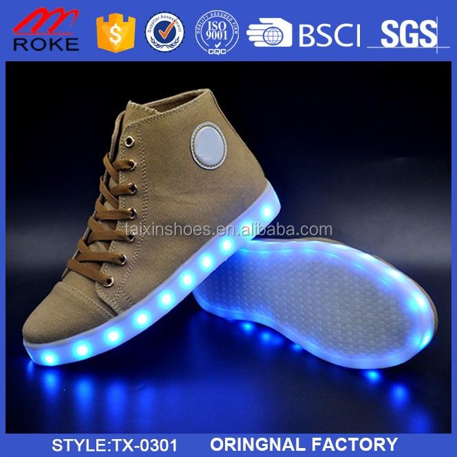Unisex High Top LED Light Lace Up Luminous Sneaker Men Women Skateboard Shoes