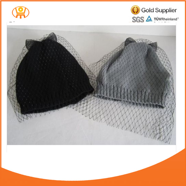 Beanie Winter Hats Bowknots Veils in Black Grey Colors