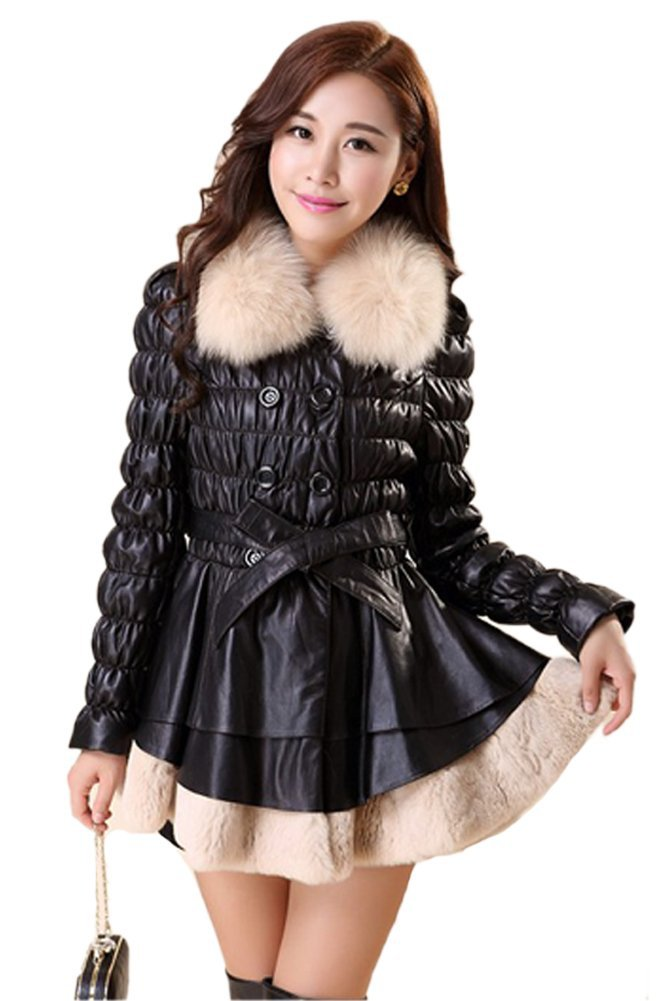 Queenshiny Women's 100% Real Sheep Leather and Rex Rabbit Fur Coat with Fox Collar