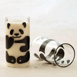 Borosilicate Tall and Thin Drinking Cute Panda Clear Single Wall Glass Milk Juice Water Mugs and Cups for Kids