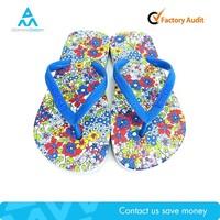 Factory cheap manufacture flower blue childrens child flip flop