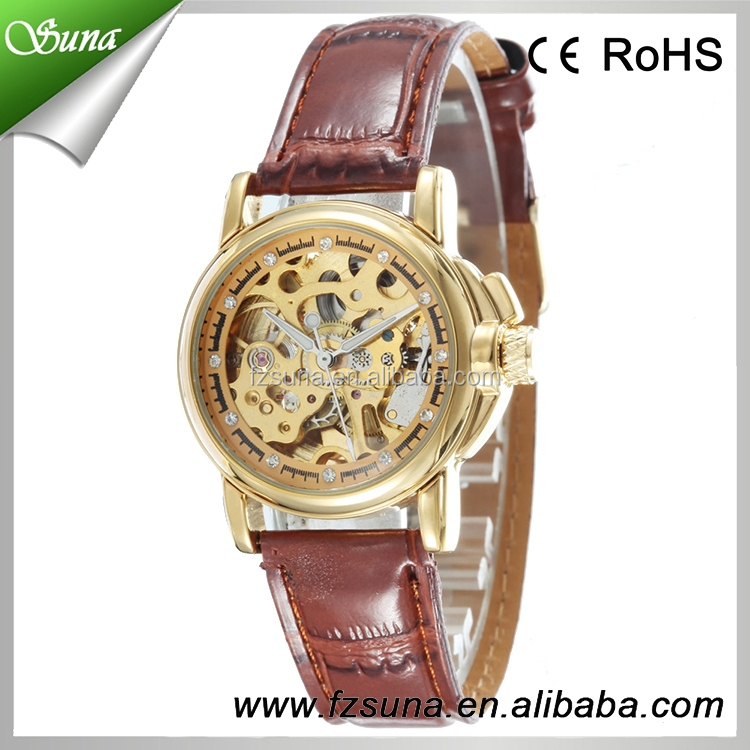 Classic antique leather cheap chinese vintage mechanical watch bracelet for man