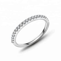 Gold Plated 925 Sterling Silver CZ Eternity Band Pinky finger Rings Designs For Girls Jewelry