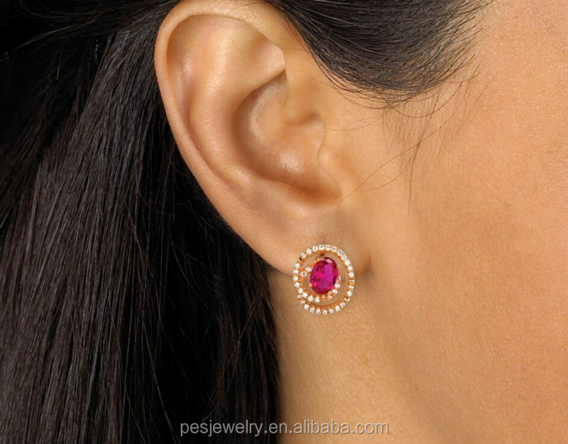 4a4aa0971cd Created Ruby Swirl Design Rose Gold Plated Stud Earrings For Girl ...