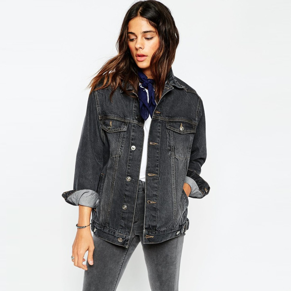 Black Plain Denim Jacket Women Cheap Factory Price In Bulk - Buy ...