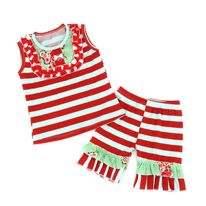 Striped Persnickety remake outfits ruffle shorts children clothing sets kids wear children boutique clothing