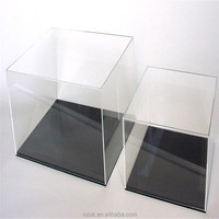high quality square crystal acrylic display case with black pedestal