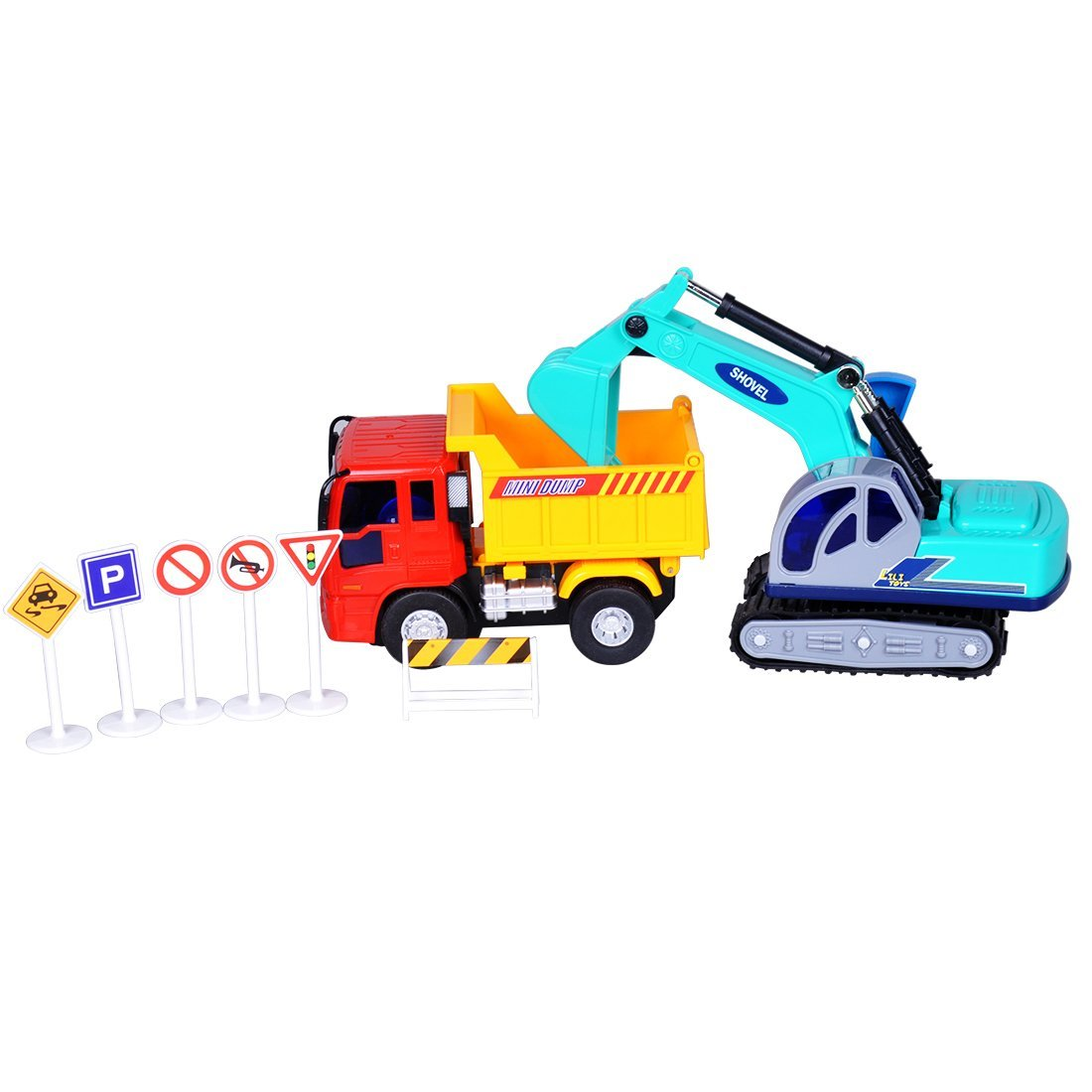 Miyare Inertial Vehicle Dumpers Truck Excavator Toy Car Model Set Small