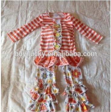 fall news arrival girls sets ! long sleeve orange stripes top baby clothing with 2 ruffles summer flower pants baby outfits