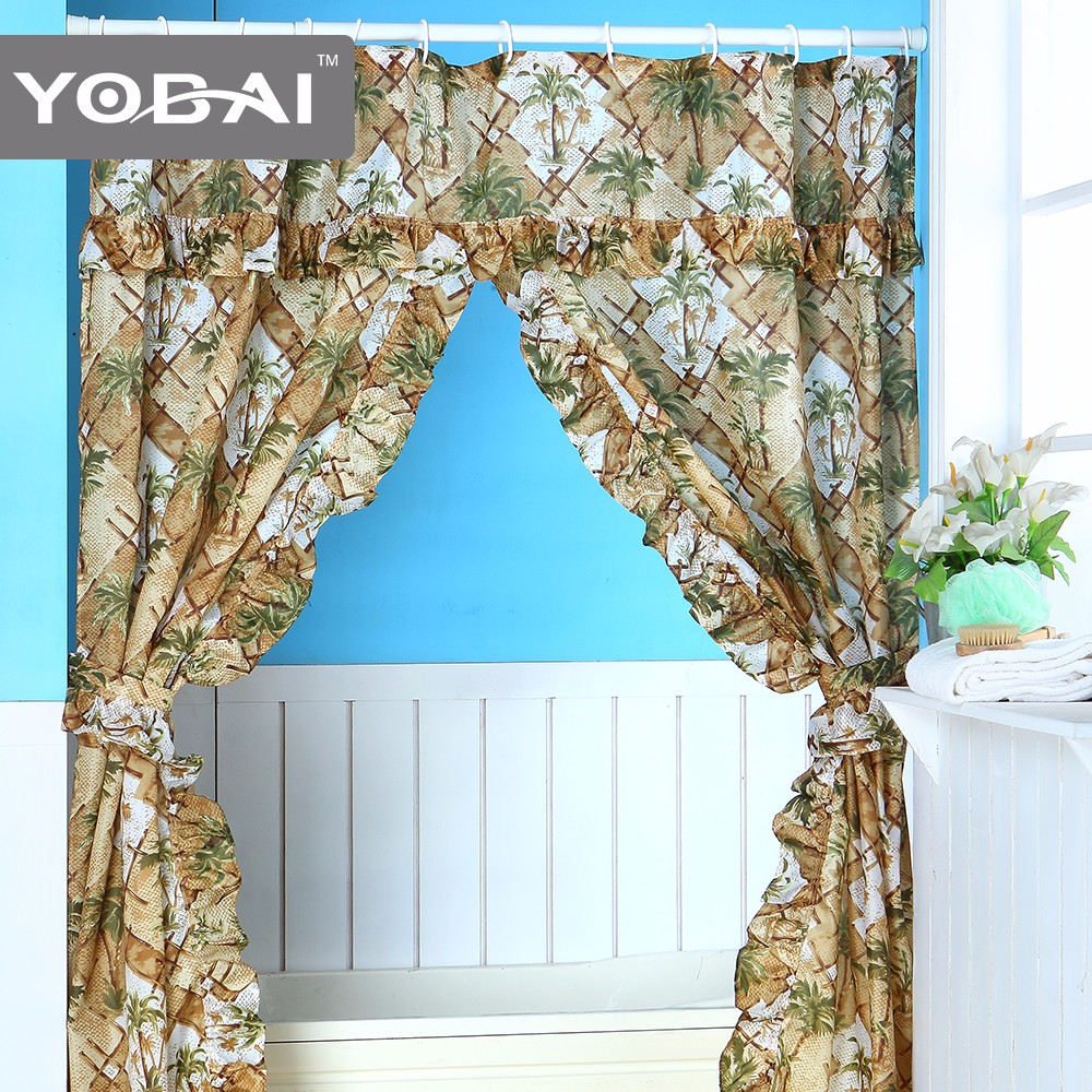 Custom Double Swag Shower Curtain With Valance