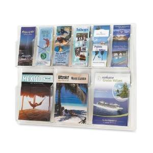 "Wholesale CASE of 2 - Safco 6-Pamphlet/3-Magazine Display Rack-Display Rack, 6 Pamphlet/3 Magazine, 30""x2""x22-1/5"", Clear"
