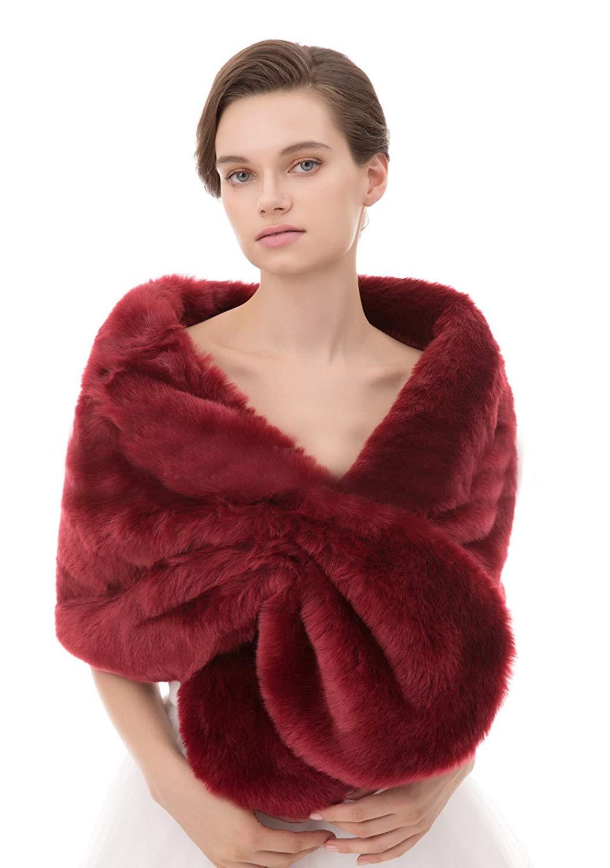 9ecf35d9c52 Buy Annies Bridal Faux Fur Shawl Shrug Winter Bridal Wedding Cover ...