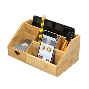 Bamboo Stationery Organiser Letter Rack Notes Pen Pencil Holder Desk Organiser Storage Box Desk Tidy with drawer
