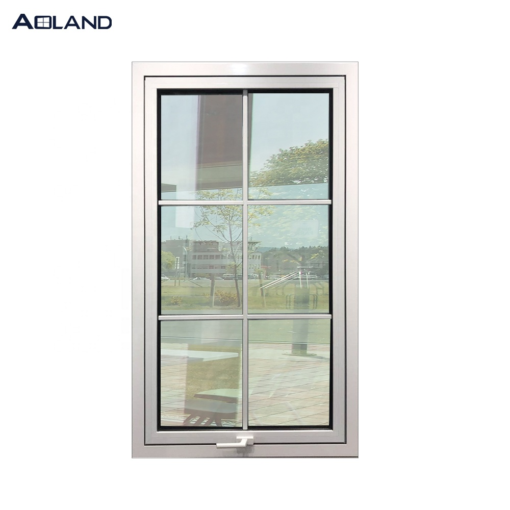 Aluminum german handle  awning window with grill design
