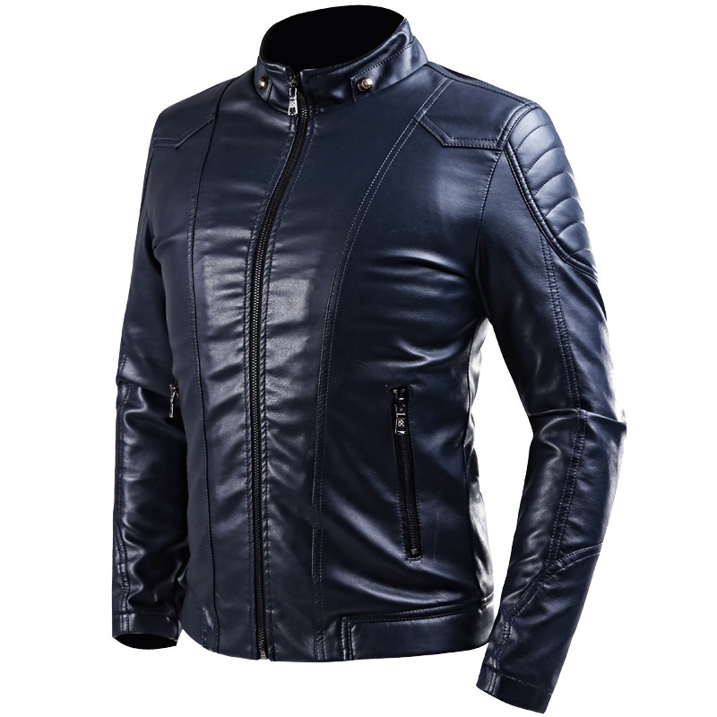 ONTBYB Mens Faux Leather Stand Collar Fashion Slim Motorcycle Jacket