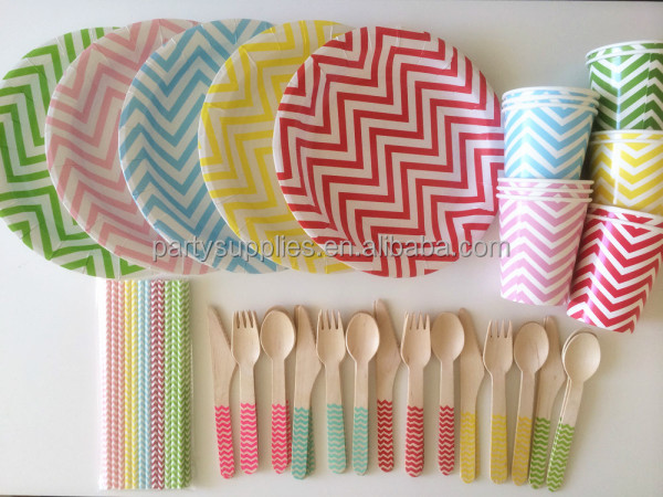 Party Supplies Paper Straws Paper Plates Paper Cups Wooden Cutlerys Colorful Chevron Party Tableware