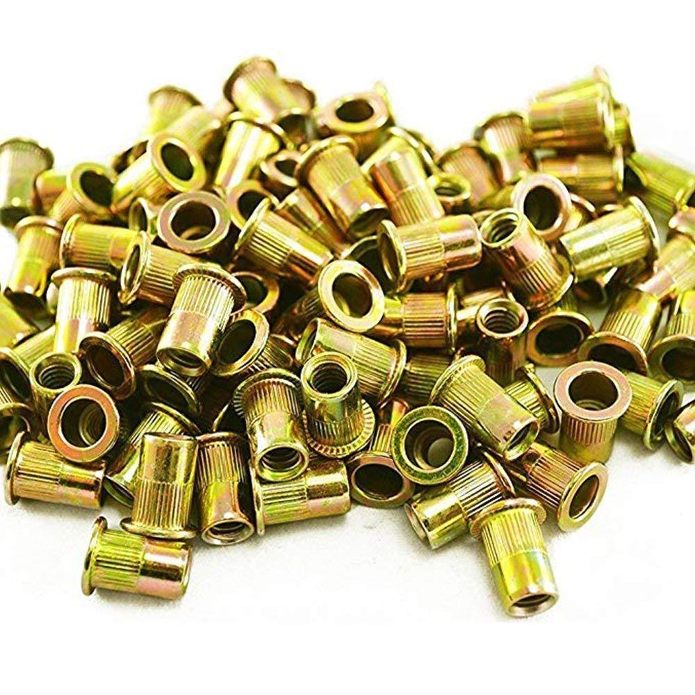 5 Type 100 Pieces Zinc Plated Carbon Steel Rivet Nut Insert Nutsert #8-32, 10-24, 1/4-20, 5/16-18, 3/8-16 Flat Head Assortment Kits