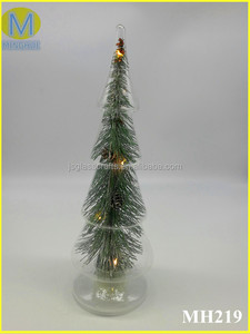 Low Price Clear glass christmas tree with LED light,christmas ornaments