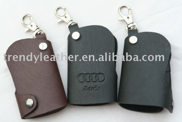 Leather car key pouch