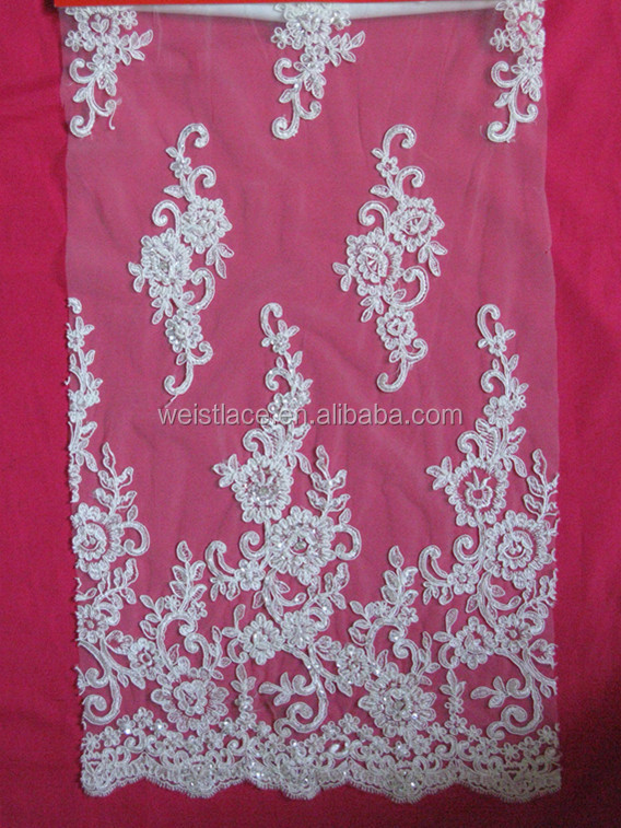 2015 austrian embroidery designs flower lace new fashion corded fabric lace with handmade beads for bridal dress