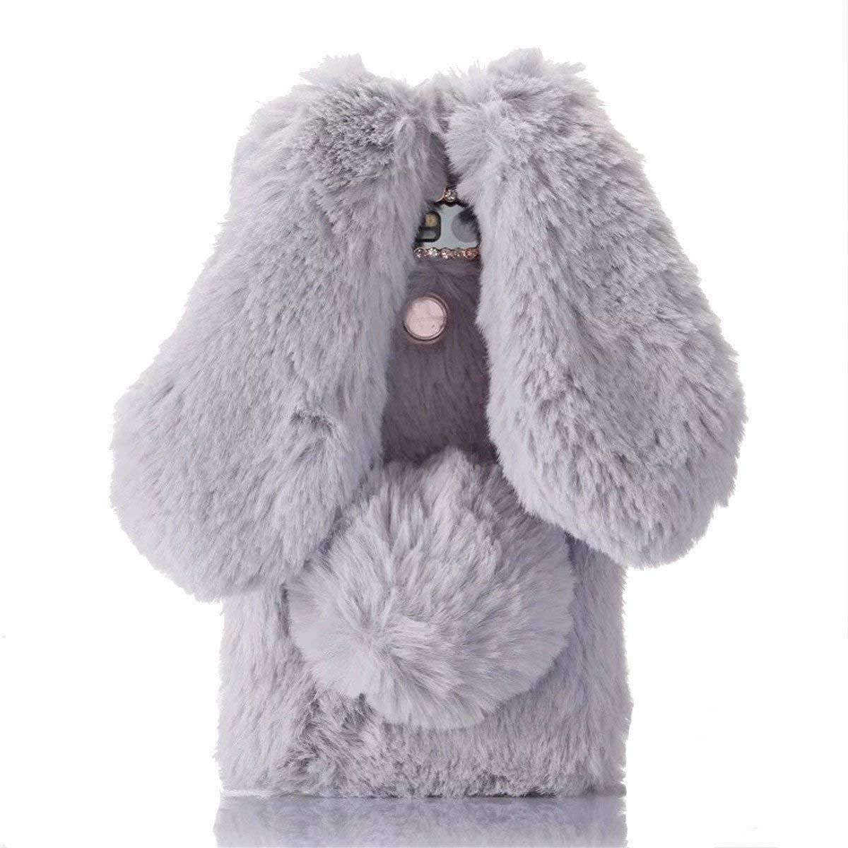 Galaxy S9 Case, [Plush Rabbit Case] Rabbit Bunny Furry Fur Bling Crystal Rhinestone Warm Design Soft Rabbit Fur Hair Plush Case for Samsung Galaxy S9(Light Gray)