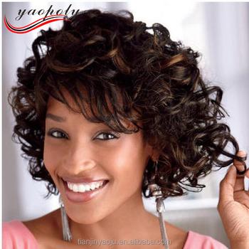 Fashion Short Hair Cuts Curly Hair Extension Hair Wigs For Black
