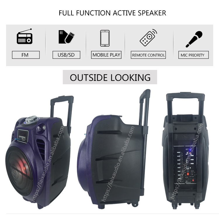Laix LX-D10 Professional Audio System Sound Active Outdoor Pa Electric Case Plastic 10 Inch Battery Speaker with Two Microphones