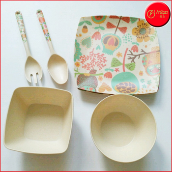 Hot Sale Natural ECO-friendly bamboo fiber dinnerware sets with bowl plate spoon fork bamboo & Hot Sale Natural Eco-friendly Bamboo Fiber Dinnerware Sets With Bowl ...