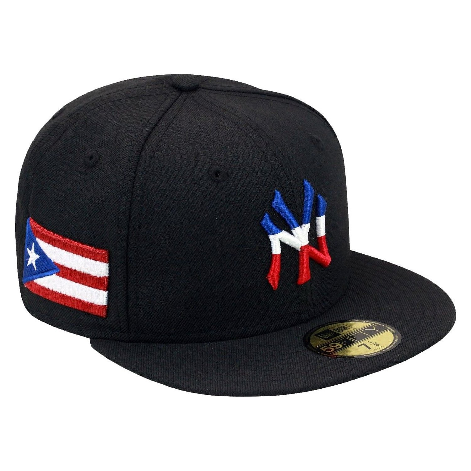 3042aee98d3 Get Quotations · New Era 59fifty New York Yankees Baseball Fitted Hat Cap  Puerto Rico PR Flag MLB