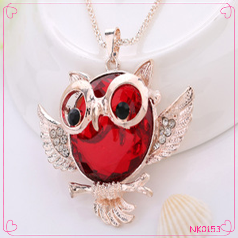 Original sunglass owl crystal necklace Europe and America crystall sweater necklace