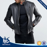 Guangzhou Shandao Custom The Latest Design Mandarin Collar With Button Full Sleeve Black Men Young Style PU Leather Jacket
