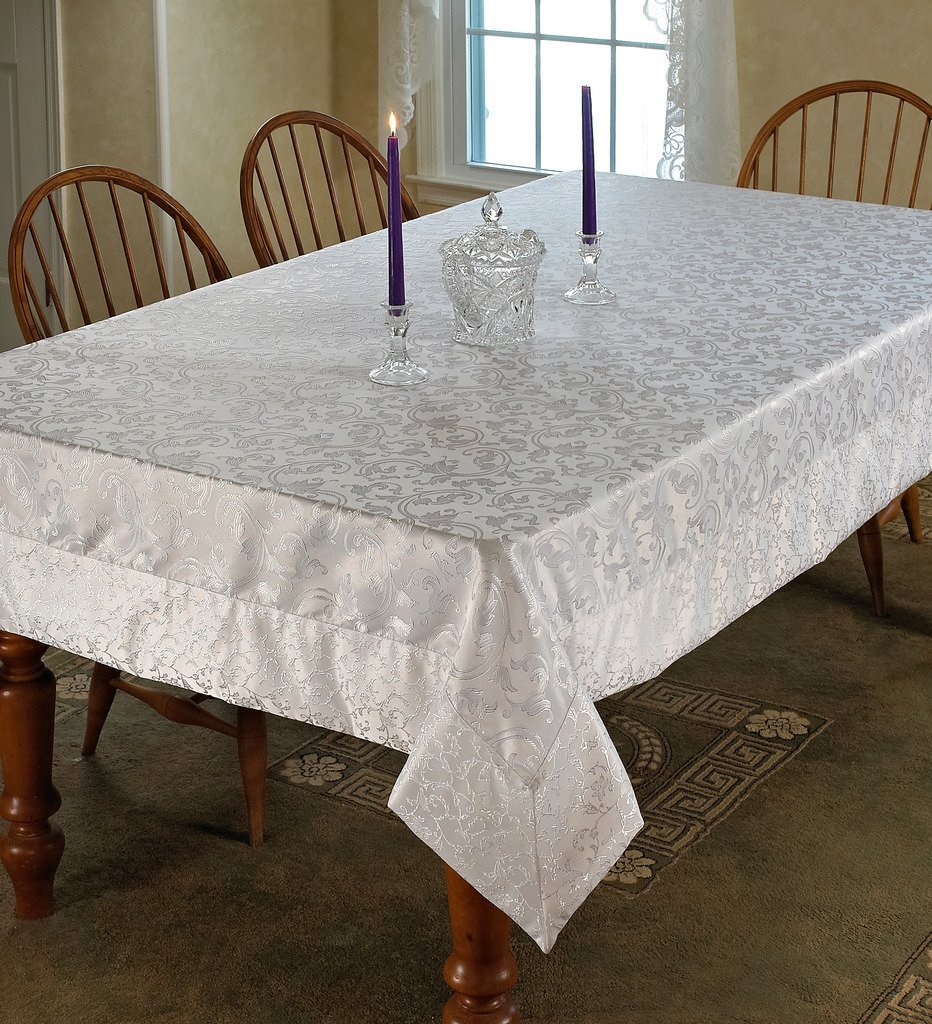 "Violet Linen Princess Damask Vintage Design Oblong/Rectangle Tablecloth, 70"" x 144"", White"