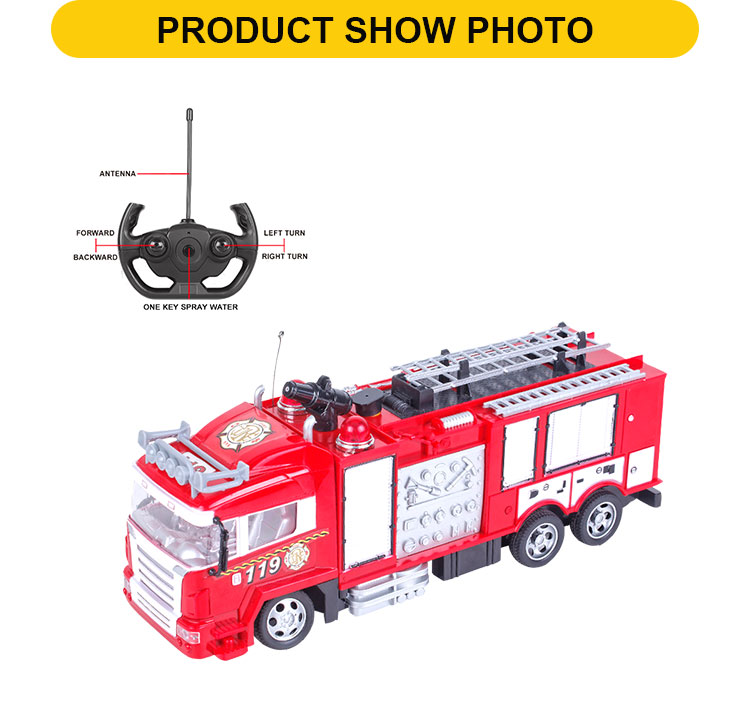 Popular 5CH Water Spray Remote Control Fire Truck With Light And Sound,  Charger