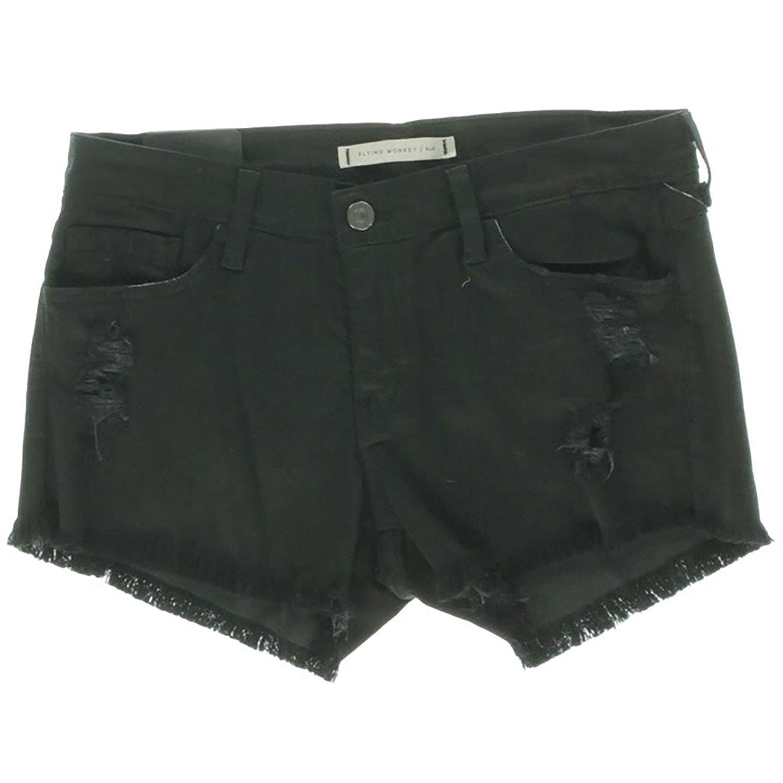 4516205d3854 Get Quotations · Flying Monkey Women's Destroyed Fringed Denim Shorts, Black,  ...