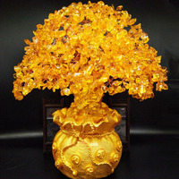 New yellow crystal money tree gifts crystal decoration for home