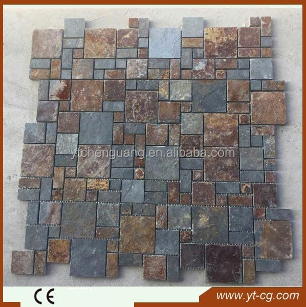 decoration cladding stone assembled slate on mesh,slate mesh back paver