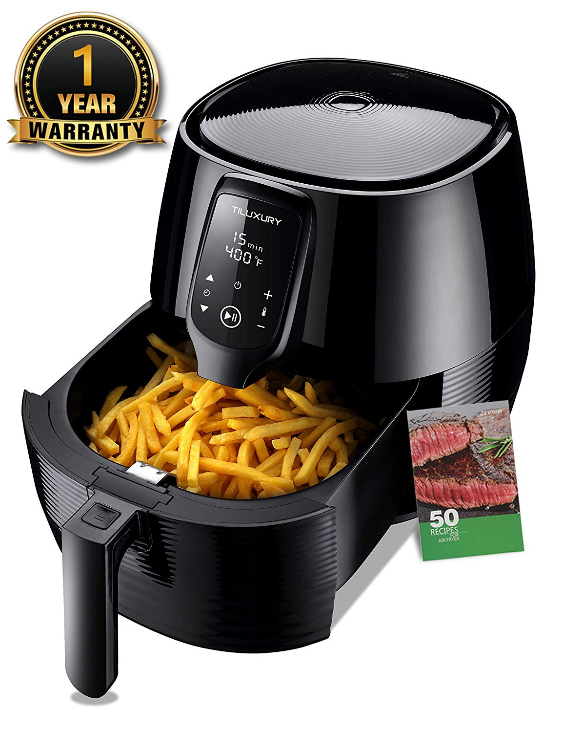 Air Fryer 5.8QT Electric Deep Air Fryer Less Fat Oil Free Healthy Cooker with Multi-function Dual Dial Timer Temperature Controls, Include 50 Recipes Book, BBQ Rack&Skewers and Pizza Pan, Black (5.8QT LED)